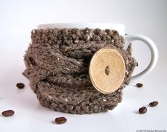 Rustic Winter Decor, Coffee Mug Cozy, Coffee Cup Sleeve, Tea Cozy, Coffee Cup Cozy, Coffee Sleeve, Cup Warmer, Knit Coffee Cozy, Tea Cosy by natalya1905 on Etsy https://www.etsy.com/listing/62451702/rustic-winter-decor-coffee-mug-cozy