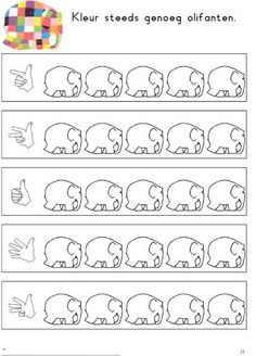 elmer i num dits Preschool Number Worksheets, Teaching Numbers, Preschool Printables, Preschool Activities, Activities For Kids, Elmer The Elephants, September Themes, Kindergarten Portfolio, I Love School