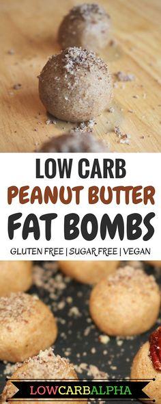 Low carb peanut butter fat bombs. Gluten free, sugar free, vegan recipe #lowcarb #keto #lchf #lowcarbalpha