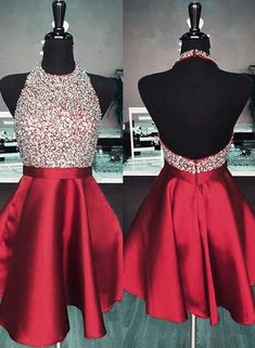 online store 31427 0a46a Cute Burgundy Rhinestones Short Prom Dress,homecoming Dress