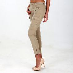 Pantalone cargo skinny modello Anita in raso super stretch - Masons