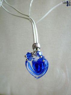 Collier en cuir et Coeur de Murano °°Tourbillon°° bleu nuit - 12,70€