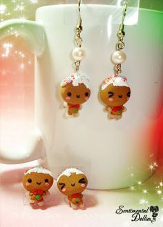 Christmas Earrings Kawaii Christmas Earrings by SentimentalDollieZ