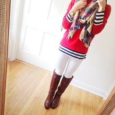 white jeans outfit, red sweater layered over striped long sleeve tee, riding boots, blanket scarf