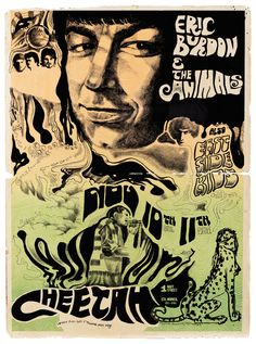 1960's Eric Burdon & the Animals psychedelic poster. (1967) Vintage 21 x 28.5 in. screen-printed poster on heavy stock paper in black, orange and green inks, promoting a live show headlining Eric Burdon and the Animals and opening act East Side Kids at the Cheetah Club. The show's date is Friday Nov. 10th, Saturday Nov. 11th 1967.  Lot 55  https://www.profilesinhistory.com/auctions/rock-roll-auction-59-2/