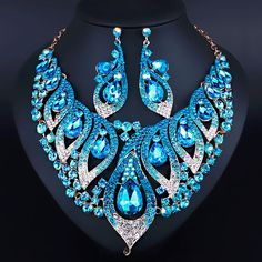 Exquisite Morning glory Shape bling Crystal Rhinestone Necklace earrings for Women Wedding Fashion African Jewelry sets | E-BAYZON