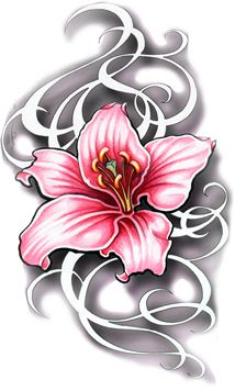 Pink Lily Flower Tattoo Art Design. Would be cool to have something written in the ribbon swirls like my siblings names.