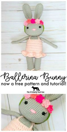 Ballerina Bunny Crochet Pattern - The Friendly Red Fox. This pattern comes with the bunny dress flower crown and slippers as well as a tutorial to attach the head without sewing! Not a free pattern but cute enough to pay for! Crochet Gratis, Crochet Patterns Amigurumi, Amigurumi Doll, Crochet Dolls, Ravelry Crochet, Crochet Mignon, Crochet Bunny Pattern, Crochet Hippo, Crochet Simple