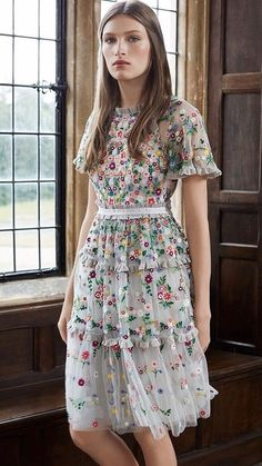 Bohemian Embroidery What to wear for a wedding ? Boho Fashion Style featuring A Bohemian Embroidery Dress from Pasaboho Elegant Outfit, Elegant Dresses, Pretty Dresses, Beautiful Dresses, Formal Dresses, Tiered Dress, Embroidery Dress, Mesh Dress, Skirt Outfits