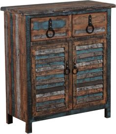 Create a rustic, industrial look plus ample tucked-away storage with this Powell Calypso 2 Drawer Console Table . Gray, blue, and charcoal. Powell Furniture, Living Room Furniture, Home Furniture, Painted Furniture, Furniture Ideas, Colorful Furniture, Shelf Furniture, Distressed Furniture, Retro Furniture