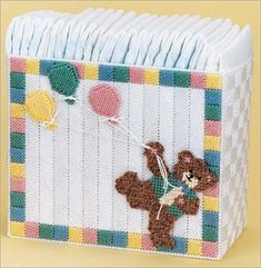 Plastic Canvas - Patterns for Children & Babies - Nursery Decor Patterns - Teddy Diaper Stacker & Wipes Cover Plastic Canvas Christmas, Plastic Canvas Crafts, Plastic Canvas Patterns, Diaper Holder, Cross Stitch Patterns, Crochet Patterns, Baby Doll Accessories, Canvas Designs, Leather Bags Handmade