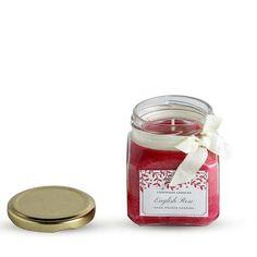 SQUARE JAR CANDLE RED ENGLISH ROSE AROMA Jar Candles, Scented Candles, English Roses, Red, Gifts, Presents, Favors, Gift, Mason Jar Candles