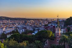 The Gaudi House and Park Güell Cityscape Gràcia Barcelona Catalonia Spain  www.alamy.com/image-details-popup.asp?ARef=FY3FRG marketplace.500px.com/photos/152203875 #aerial #architecture #barcelona #blue #building #catalonia #city #cityscape #europe #european #exterior #famous #house #landmark #landscape #mediterranean #port #sea #sightseeing #sky #skyline #spain #spanish #tourism #tourist #town #travel #urban #view #viewpoint