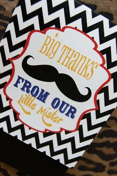 Little Mister Mustache and Bowtie Chevron Thank You Cards by kyankedesigns, $31.25