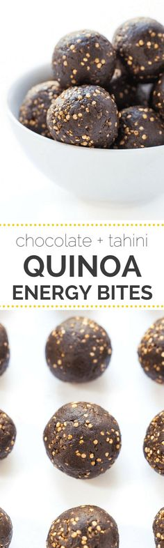 Dark Chocolate Tahini Quinoa Energy Bites -- healthy easy and perfect for…