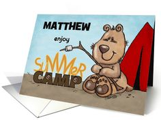 Customized Name Summer Camp-Thinking of You for Matthew- Camping Bear card