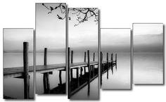 Cuadro de paisaje embarcadero blanco y negro, lienzo 5 piezas, 150x100cm Dekoarte. Decoración de Cuadros Modernos y Baratos. Decoración online.