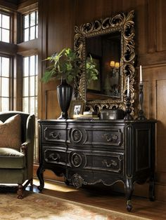 Oversized dark chocolate finish chest with golden bronze accent mirror
