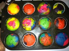 Tye dye cup cakes!! Just add food coloring to the cupcake batter... So cool :)