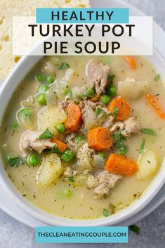 Healthy Turkey Pot Pie Soup is a creamy, delicious, paleo & Whole30 dinner! Easily made in your instant pot, crockpot or on the stove with your leftovers. You'll love how rich and flavorful this turkey pot pie soup is while being completely dairy free!