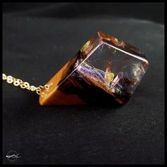 Quartz Phantom Resin Necklace wood resin and by CutBranchJewelry #quartz #iridescent #necklace