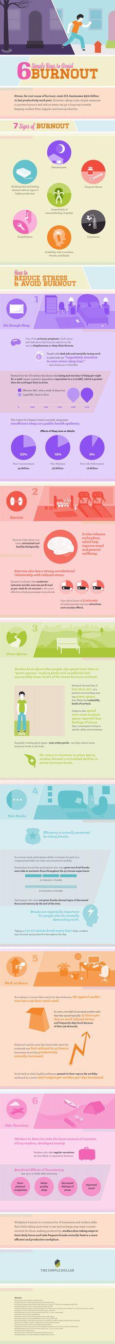 6 formas sencillas de evitar el agotamiento #infografia #infographic #health