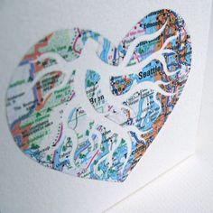 I Heart Seattle Original Map Cutout Art by PaperCutWorks