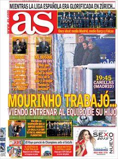 Titulares y Portada del 8 de Enero de 2013 del Periodico AS ¿Que te parecio este día?