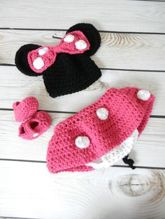 Crochet Miss Mouse Hat and Skirt / Diaper Cover Set With Matching Booties