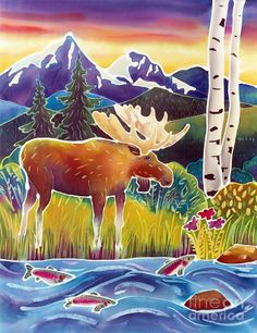 Moose On Trout Creek Painting by Harriet Peck Taylor - Moose On Trout Creek Fine Art Prints and Posters for Sale Silk Painting, Painting Prints, Art Prints, Lino Prints, Block Prints, Artist Canvas, Canvas Art, Canvas Prints, Canvas Size