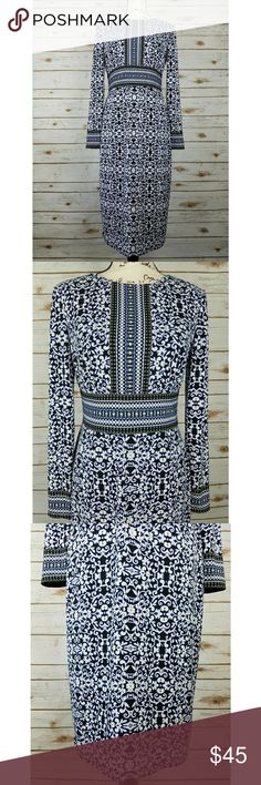 Maggy London Modest Long Sleeve Midi Career Dress Excellent condition, no stains or flaws. This is a very well made dress, it is lined and stretchy. The pattern is very flattering.   Reasonable offers will be considered, bundles are discounted. No trades and no modeling. I can ship same or next day. Maggy London Dresses Midi