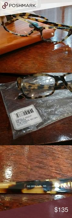 👓🙌Gucci eyeglass frame Brand new. Gucci GG 3559, color L7B/Havana honey gold, 53 eye size. Beautiful Havana frame--I loved it but never got my lenses put into it. Still has original demos and bag it was received in. No case as of now--will send if it is found. Gucci Accessories Glasses