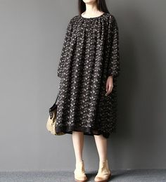 women double Loose fitting doll dress in black spring by MaLieb