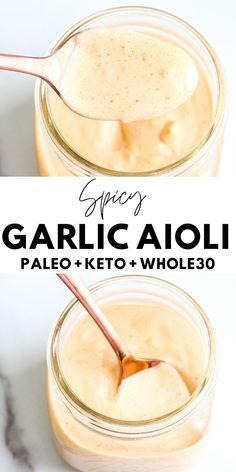 Spicy Garlic Aioli - Easy, 5 Ingredients - Sauce Sriracha, Spicy Aioli, Aioli Sauce, Soy Sauce, Garlic Aoli Recipe, Aioli Recipe, Lemon Garlic Aioli, Garlic Minced, Garlic Sauce