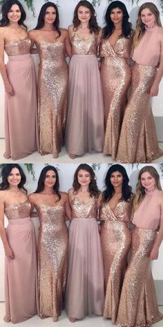 On Sale Outstanding Sequin Bridesmaid Dress Custom Sparkly Mismatched Sequin Long Bridesmaid Dresses, Cheap Rose Gold Custom Long Bridesmaid Dresses, Affordable Bridesmaid Gowns, Beach Wedding Bridesmaid Dresses, Gold Bridesmaids, Affordable Bridesmaid Dresses, Bridesmaid Dresses Online, Wedding Party Dresses, Wedding Beach, Trendy Wedding, Dress Party, Sparkly Bridesmaid Dress