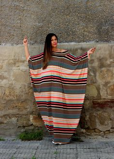 Multicolored Abaya dress//maxi Plus size by cherryblossomsdress, $99.00