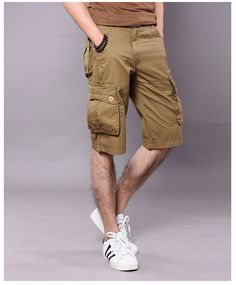 248168ff1b6 Mens Cargo Shorts Casual Cotton Multi Pocket Summer Man Short Pants  Military Big Size Bermuda 2017