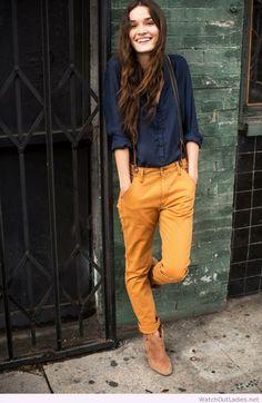 Mustard pants and navy shirt