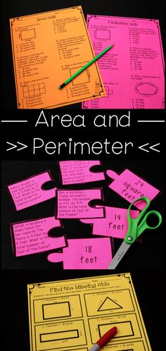Area and Perimeter Lesson Games and Ideas! Love the anchor charts, quizzes, and critical thinking practice for math!