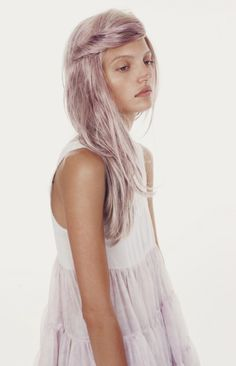 lovely light pastel burgundy hair color, lavender ethereal dress. I don't think I have the right complection for this hair color:[