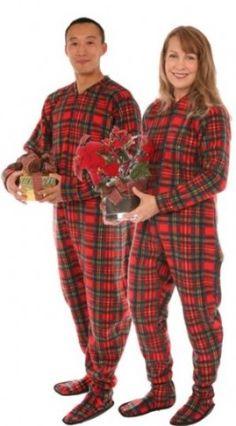 Adult Christmas Pajamas | Adult Buffalo Check Footie Pajamas ...