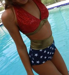 Wonder Woman Swimsuit two piece high waisted ... love this, too! @cravecompany #whatdoyoucrave