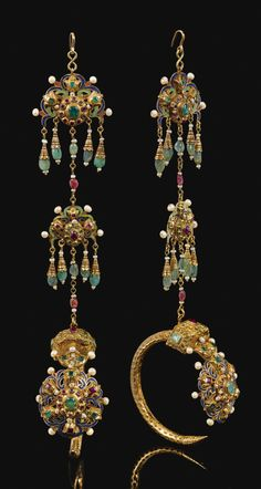 "Morocco | Gold, enamel, gemstones and pearl set ""Khros"" ceremonial earrings 