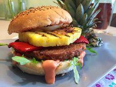 Ook lekker! Vega-hamburgers met gegrilde ananas
