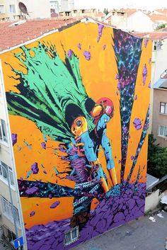 A selection of the street art creations of the Spanish artist and illustrator DEIH, based in Valencia, who is mixing science fiction and fantasy into beautifu Graffiti Art, Murals Street Art, Graffiti Painting, Street Art Graffiti, Mural Art, Wall Art, Urban Street Art, 3d Street Art, Street Artists
