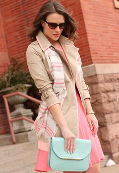 Spring trench, coral dress, and great accessories // Penny Pincher Fashion