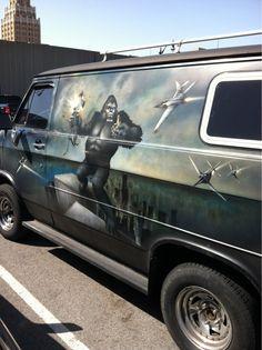 King Kong mural on custom van
