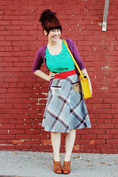 I love the bright colors AND the vintage shoes (I have a pair in my closest like this that Ive never worn)...