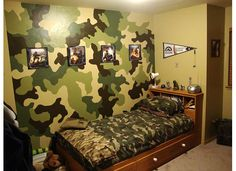 I could do this! It would be great in their room! I can see it now. Camo wall with deer and fish hanging on it!