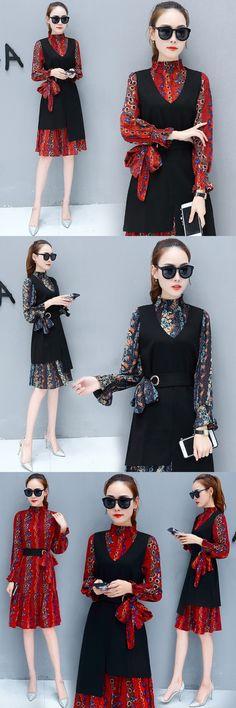 Fashion Fall Women 2 Pieces Set irregular Vest  Black Dress+ Flare Sleeve Print Dresses Elegant Office Lady Dress Suit Female Ve